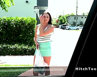 Hot wicked legal age teenager bangs in car pov
