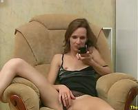 Lewd slim dilettante dark head fingers her own juicy wet love tunnel