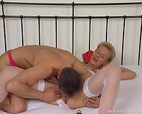 Hot blond in white underware and nylons copulates a tall dude