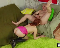 Brazen hussy with smutty mind eats dude's a-hole and receives pile driven