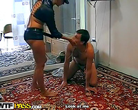Voracious Russian domme Vika dominates over her chap