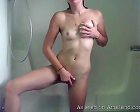 Hot shower masturbation movie from sexually excited chick with admirable mangos