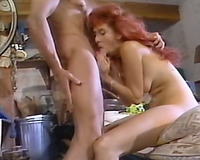 Redhead retro bitch acquires group-fucked in the spacious basement