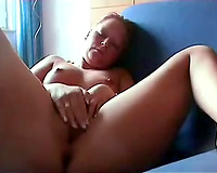 Chubby redhead older woman masturbating on the ottoman