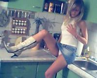 Erotic solo of my cute juvenile blond Swiss girlfriend in kitchen