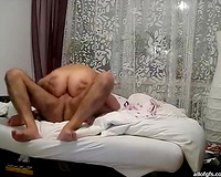 Horny man tries to satisfy his brunette hair girlfriend in missionary style position