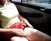 Wondrous buxom and sexy GF of mine masturbates right in the car