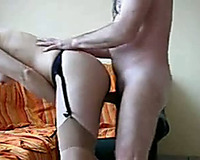 Pounding my short-haired wife's slit from behind