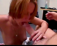 Skinny redhead hottie receives face drilled in the office