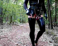 Really perverted masturbation in the woods in my sexy latex outfit