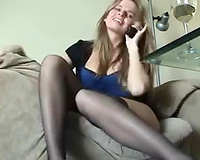 Light haired slim quite leggy livecam beauty was posing in her nylons