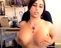 Sensatioanl breasty chick masturbates on the chair in front of web camera