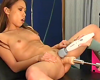 Filthy nurse toy bonks small bodied Asian slutty wife in a Doctor's office