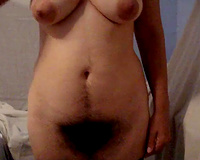 Amateur dark haired masked nympho was flashing her truly bushy snatch