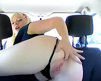 Blonde angels fingers vagina and booty in car on camera