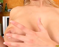 Slutty and horny blonde haired whore shows her boopies
