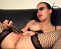 Thick metal vibrator makes my soaking cookie tremble with big O