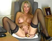 Big jugged mama in nylons gives me erotic solo on web camera