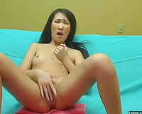 Really emotional and awful livecam Asian wench masturbated herself
