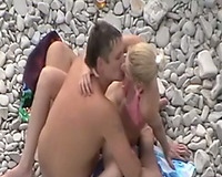 Hot golden-haired beach white women with her boyfriend having sex in different public places