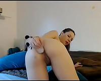 Wondrous leggy pale non-professional webcam girlie pet herself with marital-device