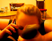 Cheating golden-haired haired hotwife was taped on livecam while sucking rock hard BBC