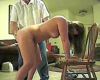 Spanking session my submissive PAWG wife's large bubble arse