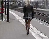 My wanton light haired Russian GF flashes her upskirt on the streets
