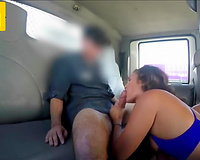 Couple of youthful brunettes engulf guy's cock and fuck in excellent three-some inside tow truck