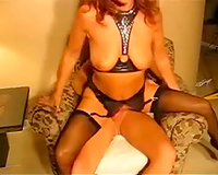 Red haired sexually excited wife in hot lingerie got screwed and cummed hard