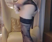 Webcam hottie in hot maid outfit drills her enjoyable cum-hole to big O