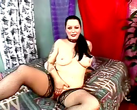 Hot brunette hair milf with hawt gazoo and fishnet nylons