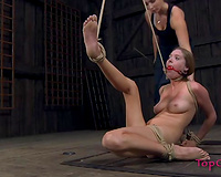 Cute white slut is gagged and bound up on in the barn