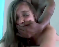 Amateur brunette hair with large eyes went interracial for hard fuck