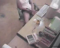 Horny office lady masturbating and caught on security cam