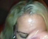 Thirsty blond mother I'd like to fuck in fishnet top receives huge facial spunk flow