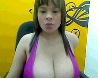Amazing black haired web livecam wench was willing to show off her boobies