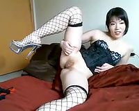 Pallid and cute Asian brunette hair girlie in fishnet nylons and her priceless solo