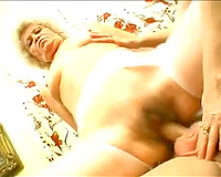 Two older blondes engulf and ride a dong by turns in FFM clip