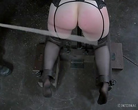 Redhead skank with nice-looking appetizing body spanked with wood