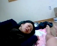Slutty non-professional Korean dark brown nympho fingered and sucked her BF on web camera