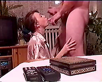 Redhead hotwife acquires on her knees in order to engulf my giant rod