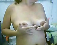 Full figured Latina cheating wife shows her her bloody pad