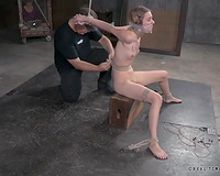 Skinny white hoe not quite crying in this BDSM humiliation XXX clip