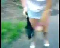 Kinky sweetheart receives her muff slammed hard outdoor