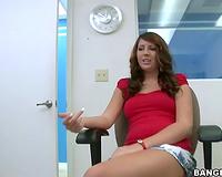 Shy brunette hair sex bomb pulls her belts down and masturbates