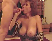 Bosomy mamma of my ally licks my balls and sucks my penis