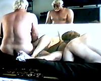 Stolen episode of old farts having swinger party at home