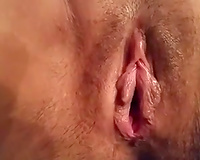 Quite admirable closeup of my buddy playing with his lusty wife's muff