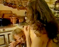 Super hawt and hot golden-haired honey with large whoppers got screwed in the kitchen